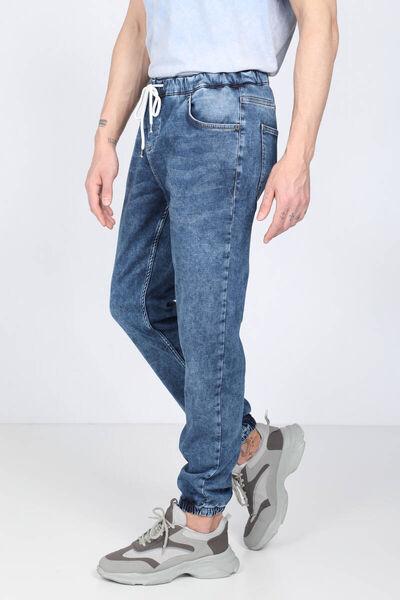 BLUE WHITE - Мужские темно-синие брюки-джоггеры с завязками на талии (1)