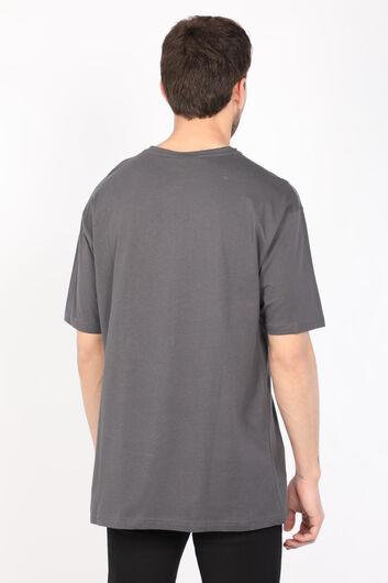 Men's Dark Gray Crew Neck T-shirt - Thumbnail