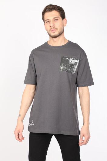 Мужская темно-серая футболка с круглым вырезом - Thumbnail