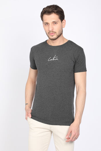 Men's Dark Gray Printed Back Crew Neck T-shirt - Thumbnail