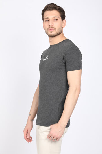 COUTURE - Men's Dark Gray Printed Back Crew Neck T-shirt (1)