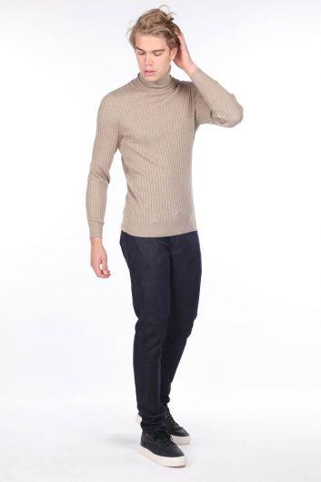بنطلون جينز رجالي داكن عادي - Thumbnail