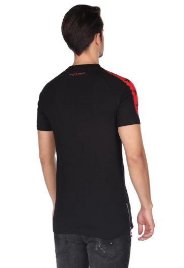 Мужская футболка с круглым вырезом и детализированной застежкой-молнией - Thumbnail