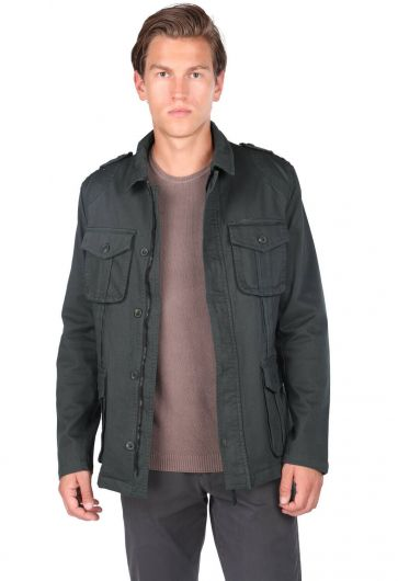Men's Crew Neck Pocket Detailed Straight Jacket - Thumbnail