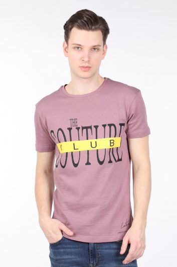 Men's Dried Rose Couture Printed Crew Neck T-shirt - Thumbnail