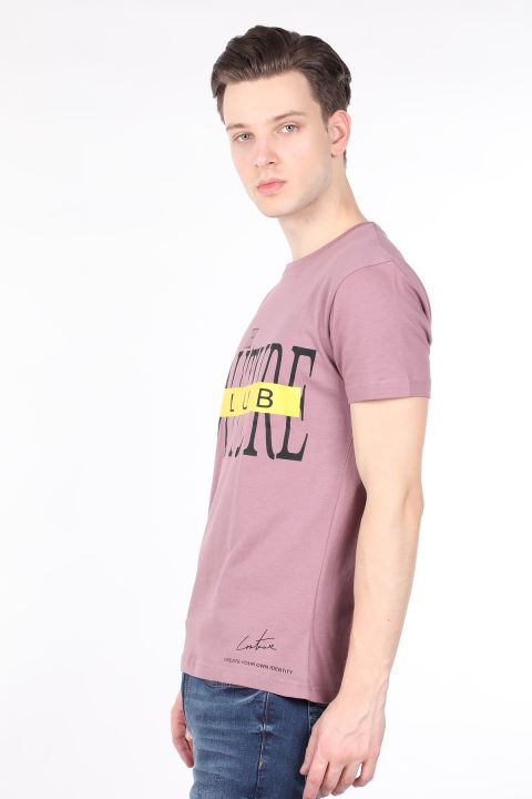 Men's Dried Rose Couture Printed Crew Neck T-shirt