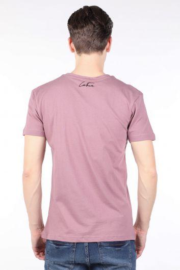 Мужская футболка с круглым вырезом и принтом Dried Rose Couture - Thumbnail