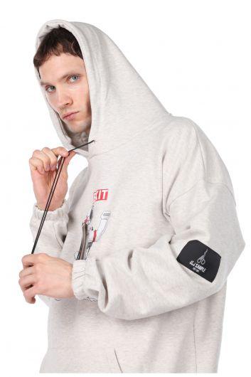MARKAPIA MAN - Men's Ecru Printed Astronaut Hoodie Sweatshirt (1)