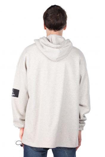 Men's Ecru Printed Astronaut Hoodie Sweatshirt - Thumbnail