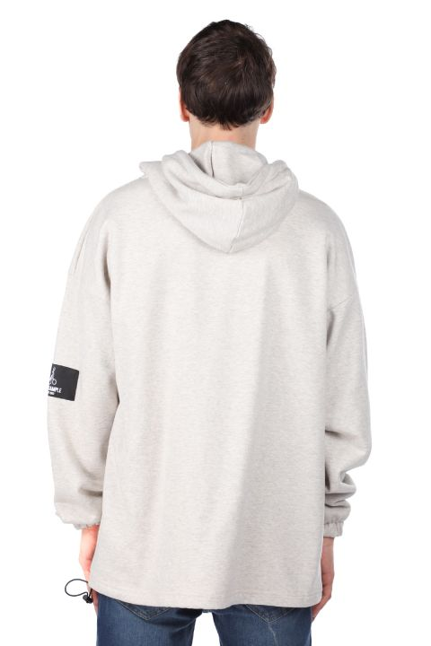 Men's Ecru Printed Astronaut Hoodie Sweatshirt
