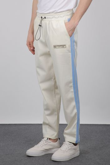 MARKAPIA - Men's Ecru Side Stripe Sweatpants (1)