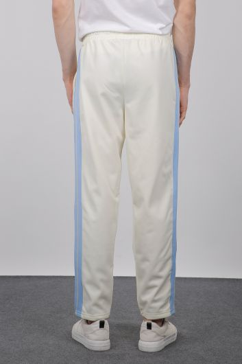 Men's Ecru Side Stripe Sweatpants - Thumbnail