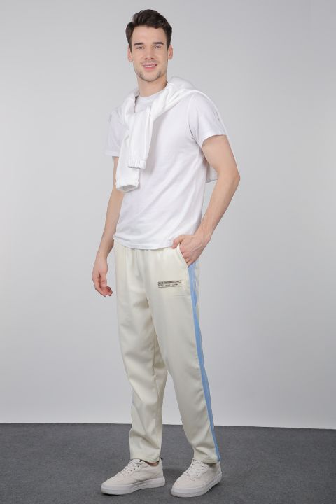 Men's Ecru Side Stripe Sweatpants