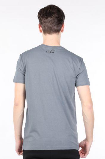 Men's Smoked Couture Printed Crew Neck T-shirt - Thumbnail