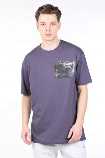 Мужская дымчатая футболка с круглым вырезом Couture - Thumbnail