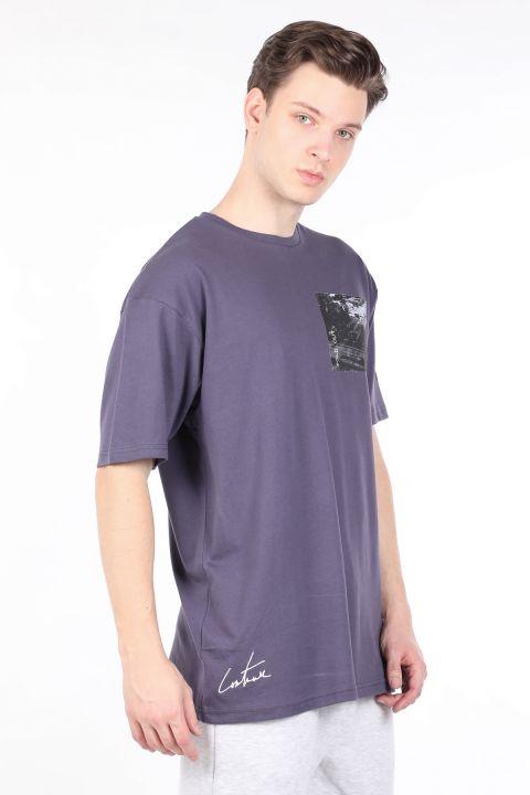 Мужская дымчатая футболка с круглым вырезом Couture