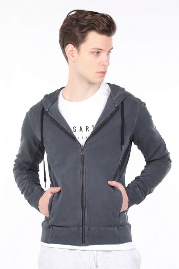 Men's Smoked Hooded Zipper Sweatshirt - Thumbnail