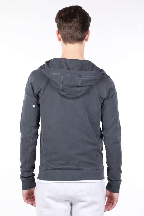 Men's Smoked Hooded Zipper Sweatshirt