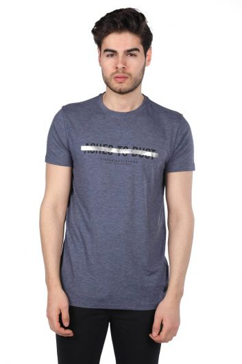 Govani Navy Blue Men's Crew Neck T-Shirt - Thumbnail