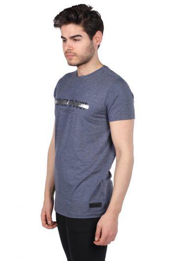 MARKAPIA - Темно-синяя мужская футболка Govani с круглым вырезом (1)