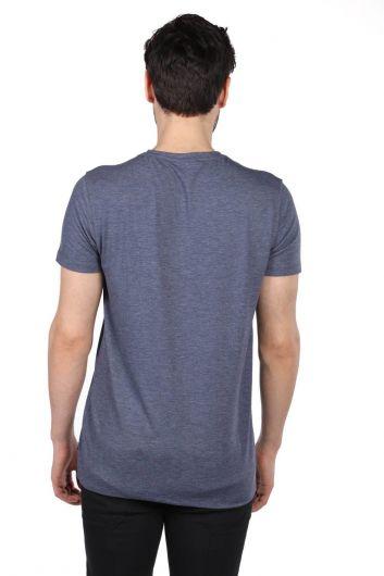 Темно-синяя мужская футболка Govani с круглым вырезом - Thumbnail