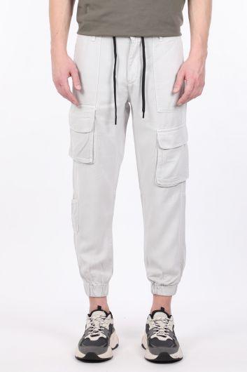 Мужские серые брюки-джоггеры с карманами карго - Thumbnail