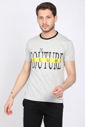 Мужская серая футболка с круглым вырезом - Thumbnail