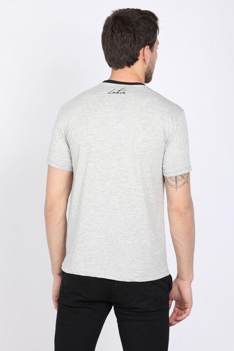 Мужская серая футболка с круглым вырезом