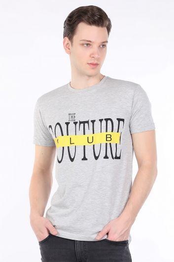 Men's Gray Couture Printed Crew Neck T-shirt - Thumbnail