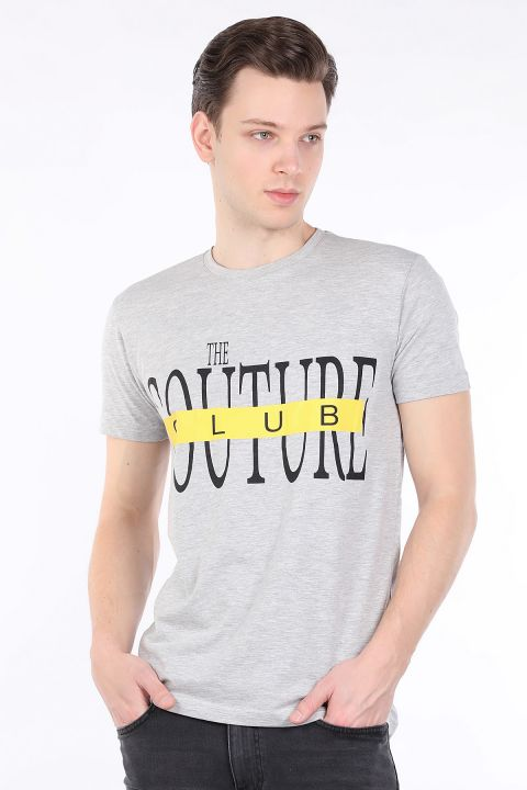 Men's Gray Couture Printed Crew Neck T-shirt