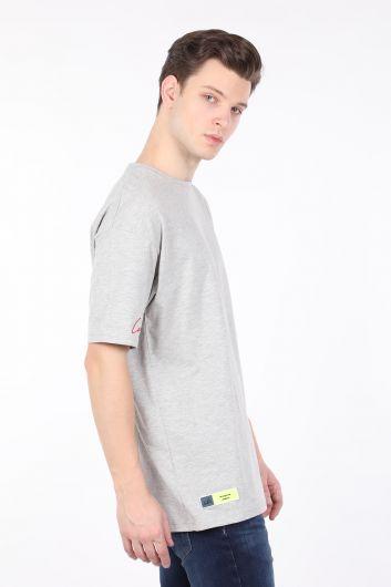 COUTURE - Мужская серая футболка оверсайз с круглым вырезом (1)