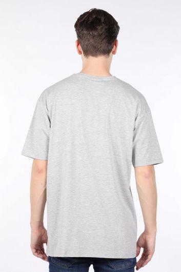 Мужская серая футболка оверсайз с круглым вырезом - Thumbnail