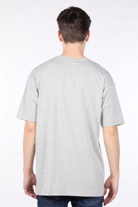 Мужская серая футболка оверсайз с круглым вырезом