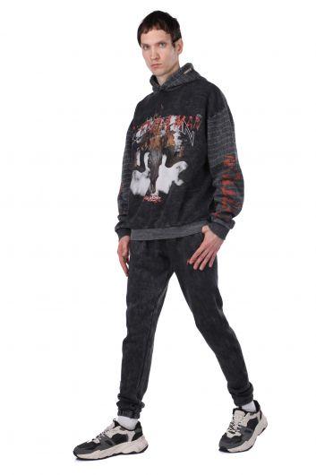 Серый мужской спортивный костюм с принтом, флис и флис - Thumbnail
