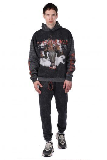 Printed Gray Men's Tracksuit Set with Fleece and Fleece - Thumbnail