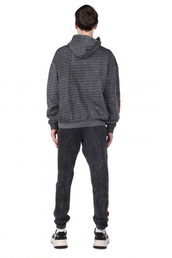 MARKAPIA MAN - Printed Gray Men's Tracksuit Set with Fleece and Fleece (1)