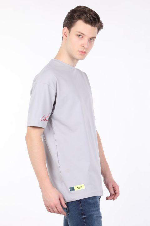 Men's Gray Melange Crew Neck Oversize T-shirt