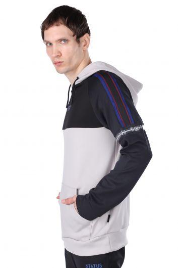 Men's Gray Piece Hooded Sweatshirt - Thumbnail