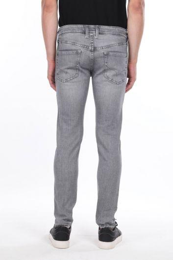 Мужские серые прямые брюки - Thumbnail