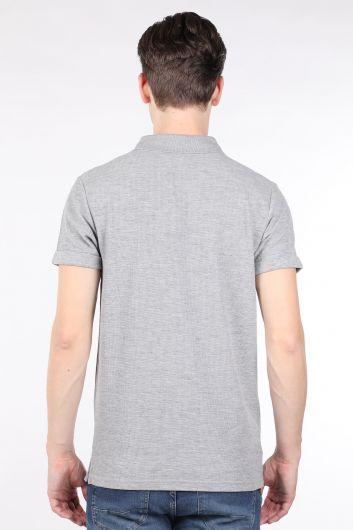 Men's Gray Polo Neck T-shirt - Thumbnail