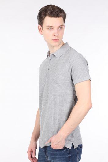Мужская серая футболка с воротником-поло - Thumbnail