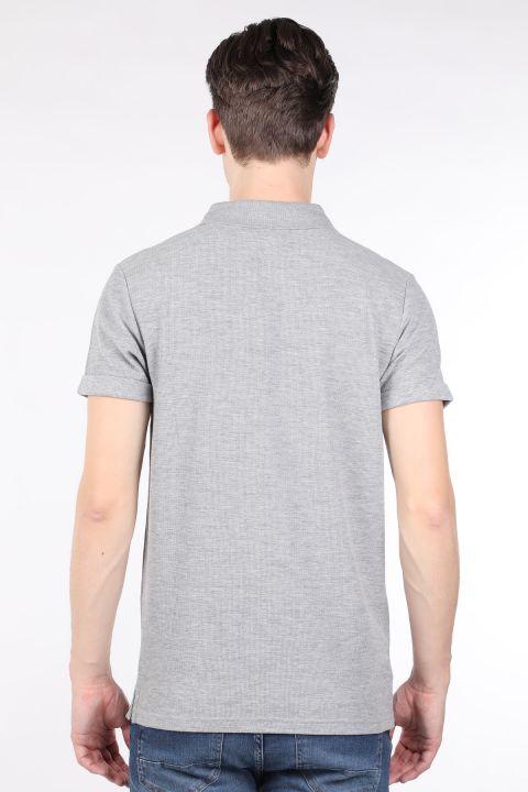 Мужская серая футболка с воротником-поло
