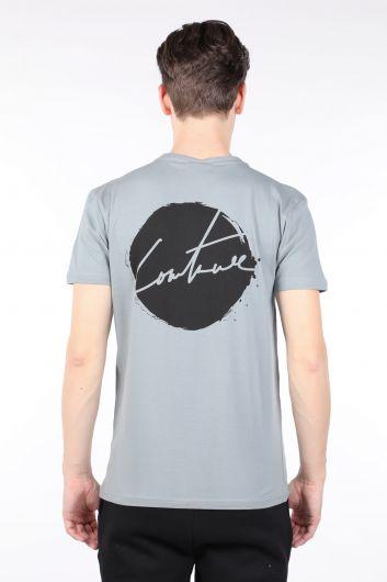 Мужская серая футболка с круглым вырезом на спине с принтом - Thumbnail