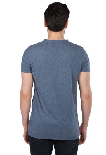 Мужская серая футболка с круглым вырезом стандартного кроя - Thumbnail