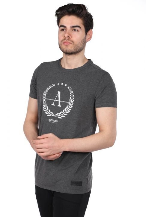 Мужская серая футболка с круглым вырезом стандартного кроя