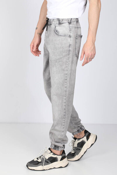 BLUE WHITE - Men's Gray Waist Drawstring Jogger Trousers (1)