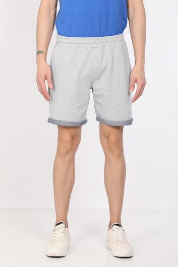 Men's Gray Woven Basic Shorts - Thumbnail
