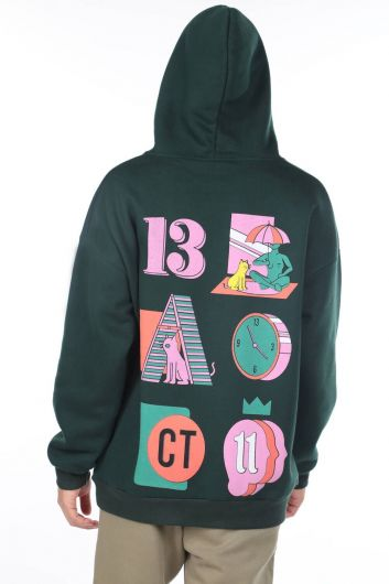 MARKAPIA MAN - Men's Green Kangaroo Pocket Back Printed Hooded Sweatshirt (1)