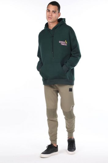 Men's Green Kangaroo Pocket Back Printed Hooded Sweatshirt - Thumbnail