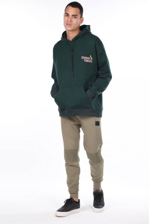 Men's Green Kangaroo Pocket Back Printed Hooded Sweatshirt